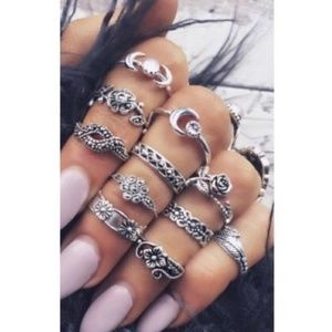 11 Piece Silver Ring Set